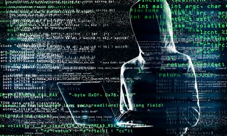 Coding and theft concept. Hacker with laptop and abstract coding text on blurry background. Multiexposure Stock Photo