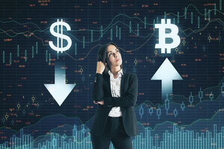 Stats and bitcoin concept. Thoughtful young businesswoman making decision on abstract forex chart grid background Reklamní fotografie