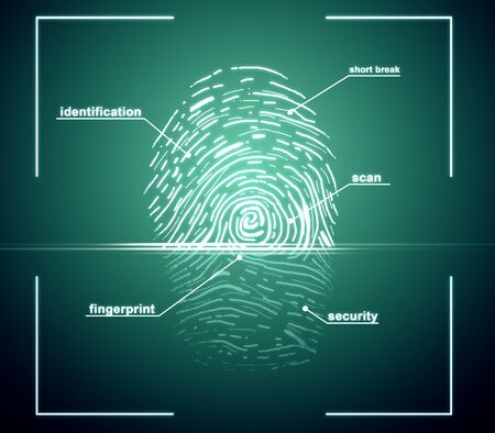 Creative finger print scan on blue background. ID and access concept. 3D Rendering