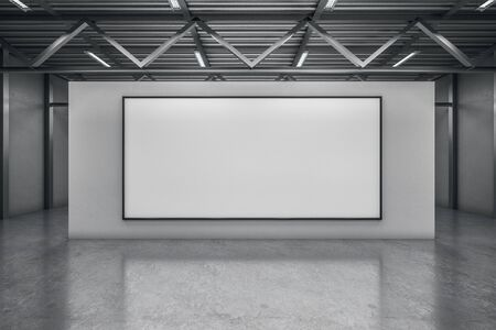 Minimalistic concrete warehouse exhibition hall interior with empty poster. Mock up, 3D Rendering
