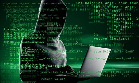 Coding and hacking concept. Hacker with laptop and abstract coding text on blurry background. Double exposure Stock Photo