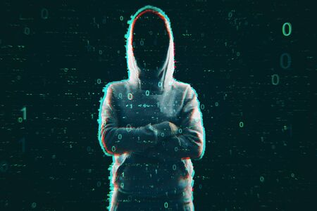 Steal and computing concept. Hacker in hoodie with creative binary code. Double exposure