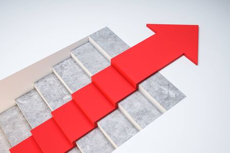Stairs with red arrow on concrete background. Growth and direction concept. 3D Rendering