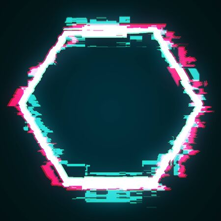 Abstract glowing glitch geomtric figure hexagon. Web design concept. 3D Rendering