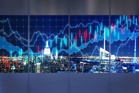 Modern empty office interior with night NYC view and forex chart. Trade and finance concept. Multiexposure