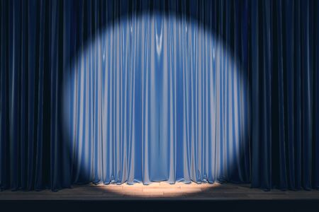 Blue stage with spot light on empty drawn curtains. Show concept. Mock up, 3D Rendering Stock Photo