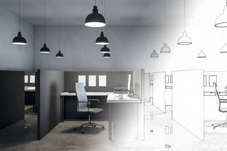 Hand drawn coworking office interior with furniture and lamps. Design and architecture concept. 3D Rendering