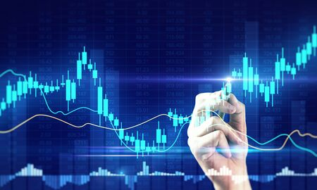 Invest and trade concept. Hand drawng creative glowing forex chart. Double exposure