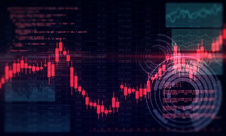 Invest and buy concept. Creative glowing forex chart background. 3D Rendering Stock Photo