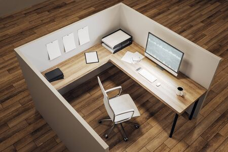 New office workplace with forex chart on computer screen, coffee cup and supplies on desktop. Mock up, 3D Rendering