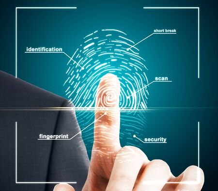Hand using creative finger print scan hud on blue background. ID and access concept. Double exposure Stock Photo