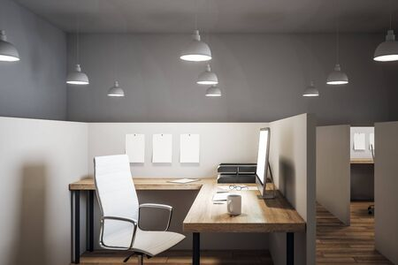 Bright coworking office interior with furniture and wooden floor. 3D Rendering