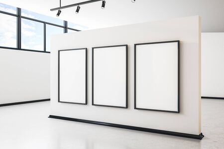 Bright white concrete gallery interior with city view, empty poster and daylight. Mock up, 3D Rendering