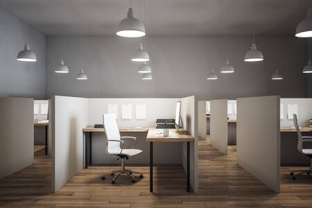 Modern coworking office interior with furniture and wooden floor. 3D Rendering