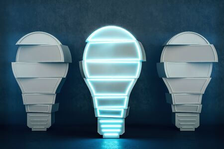 Abstract light bulbs in concrete interior. Idea and innovation concept. 3D Rendering Stock Photo