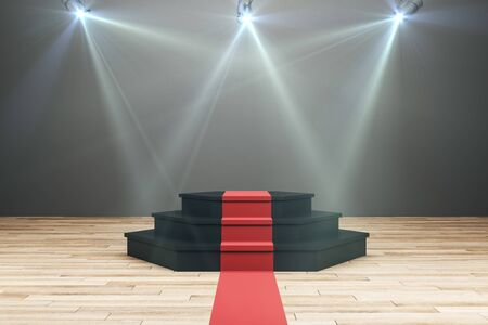 Illuminated podium with red carpet in wooden interior. Leadership and win concept. 3D Rendering Stok Fotoğraf