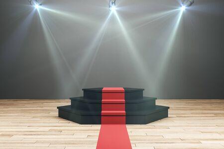 Podio illuminato con tappeto rosso negli interni in legno. Leadership e concetto di vittoria. Rendering 3D
