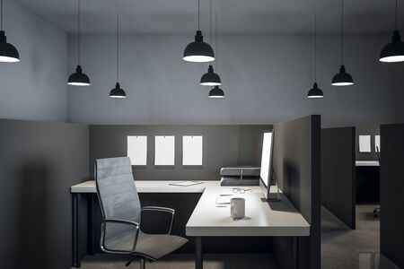 Luxury coworking office interior with furniture and concrete floor. 3D Rendering Stock Photo