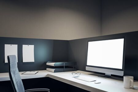 New office workplace with empty white computer screen, coffee cup and supplies on desktop. Mock up, 3D Rendering Imagens
