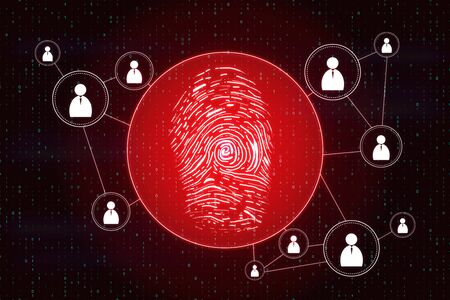 Creative red finger print with connections on black background. ID and password concept. 3D Rendering Standard-Bild - 125318983
