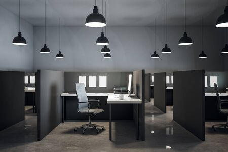 Modern coworking office interior with furniture and concrete floor. 3D Rendering