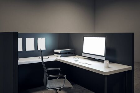 Modern office workplace with empty white computer screen, coffee cup and supplies on desktop. Mock up, 3D Rendering Imagens