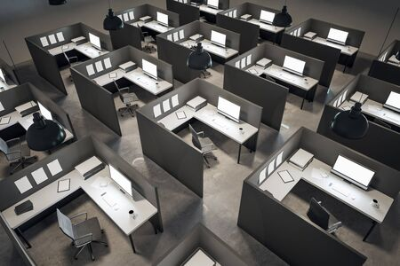 Contemporary coworking office interior with furniture and concrete floor. 3D Rendering Stock Photo