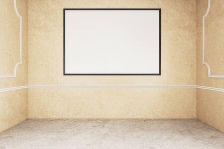 Empty billboard frame in concrete interior. Museum concept. Mock up, 3D Rendering