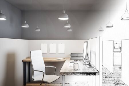 Hand drawn coworking office interior with furniture and lamps. Design and engineering concept. 3D Rendering Stock Photo