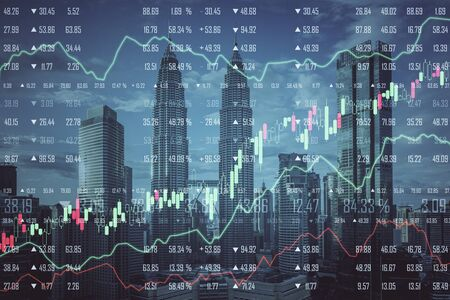 Stats and economy concept. Creative Kuala Lumpur city background with forex chart. Multiexposure