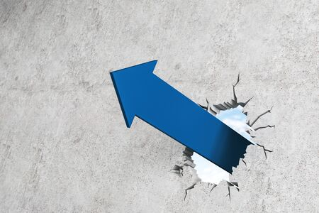 Blue arrow breaking through wall. Success and breakthrough concept. 3D Rendering