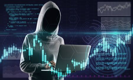 Hacker in hoodie holding laptop with glowing forex chart. Attack and stats concept. Multiexposure Stok Fotoğraf