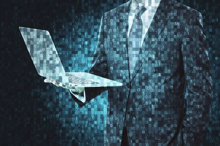 Abstract pixel businessman hand with laptop. Technology and programming concept. Double exposure