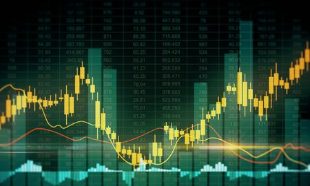 Invest and market concept. Creative glowing forex chart background. 3D Rendering Stock Photo