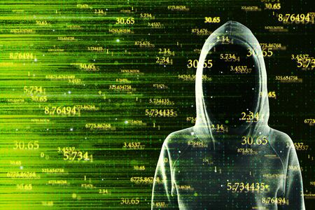Hacker on abstract yellow big data background. Software and detail concept. Double exposure Stok Fotoğraf