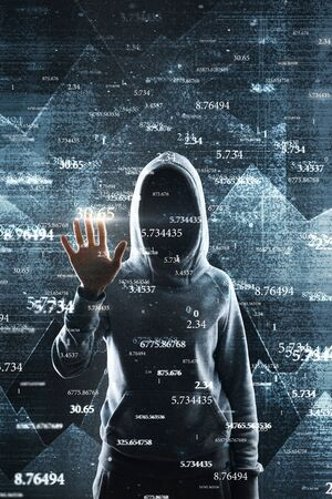 Hacker with abstract big data interface on blurry background. Software and hud concept. Multiexposure Stok Fotoğraf