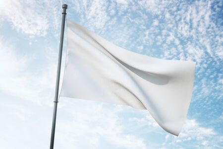 Empty waving white flag on bright blue sky background. Mock up, 3D Rendering