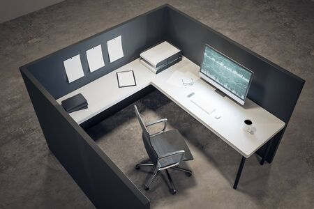 Clean office workplace with forex chart on computer screen, coffee cup and supplies on desktop. Mock up, 3D Rendering