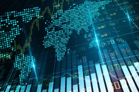 Gráfico de forex brillante creativo con mapa sobre fondo borroso. Concepto global de economía y negocios. Representación 3D