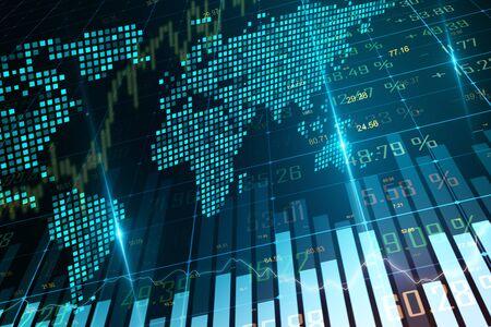 Grafico forex creativo incandescente con mappa su sfondo sfocato. Concetto di business ed economia globale. Rendering 3D