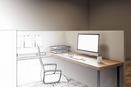 Hand drawn coworking office interior with furniture and lamps. Project and architecture concept. 3D Rendering