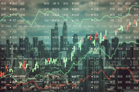 Stats and economy concept. Creative Kuala Lumpur city background with forex chart. Double exposure