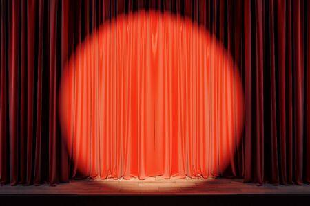 Escenario rojo con foco en cortinas dibujadas en blanco. Mostrar concepto. Mock up, representación 3D