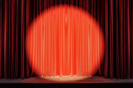 Red stage with spot light on blank drawn curtains. Show concept. Mock up, 3D Rendering