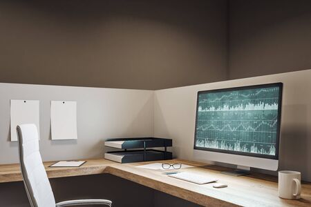Contemporary office workplace with forex chart on computer screen, coffee cup and supplies on desktop. Mock up, 3D Rendering Imagens