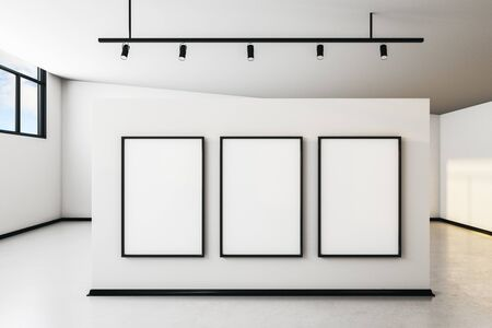 Modern white concrete gallery interior with city view, empty banner and daylight. Mock up, 3D Rendering