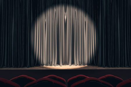 Black stage with spot light on empty drawn curtains. Show concept. Mock up, 3D Rendering