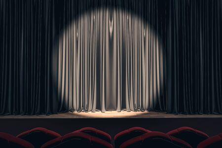 Palcoscenico nero con luce spot su tende disegnate vuote. Mostra il concetto. Mock up, rendering 3D