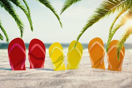 Bright flip flops sticking out of sand on beautiful beach background with palm trees. Vacation and lifestyle concept. 3D Rendering