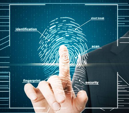 Hand using creative finger print scan hud on blue background. ID and security concept. Double exposure
